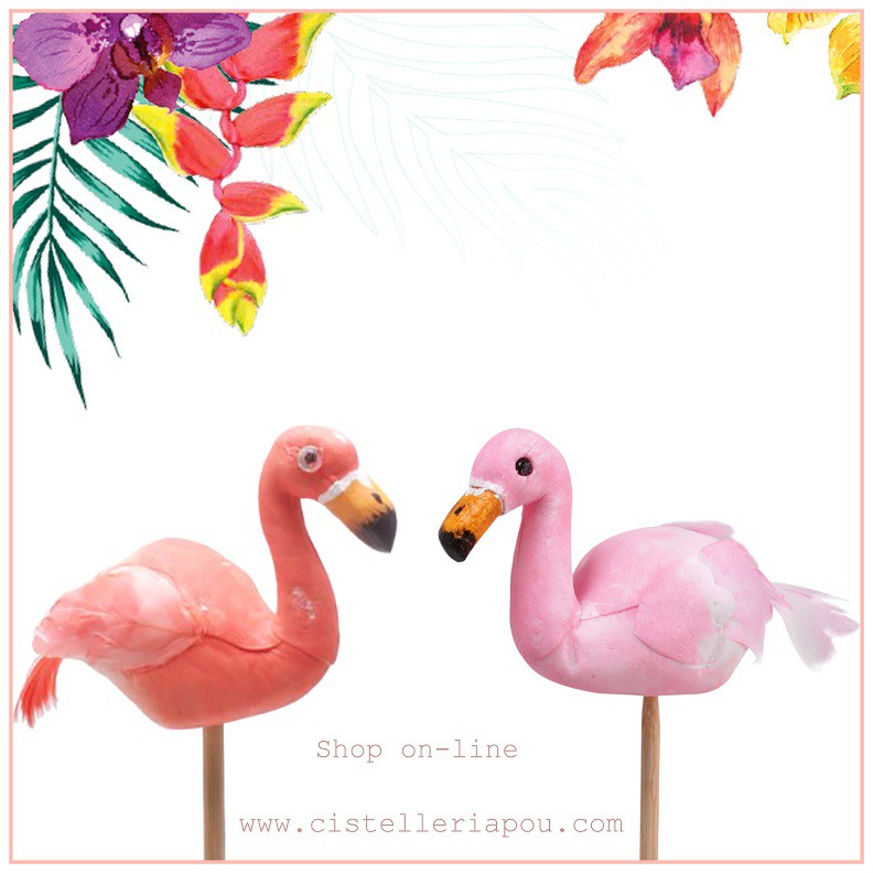 Pick flamingo , pick decorativo, pick flamenco para plantas, Elementos de decoración.