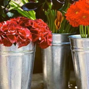 Florero Galvanizado de Zinc – Expositor para flores